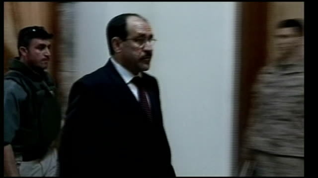 iraqi prime minister meets sunni sheikh abdul sattar almaliki leaving meeting ext sattar talking to general david petraeus - iraqi prime minister stock videos & royalty-free footage