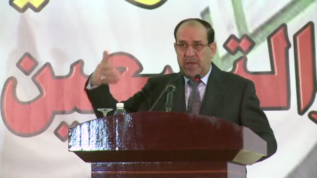 iraqi prime minister nuri al maliki accuses anti government protesters who have blocked off a key trade route for two weeks of abusing their freedoms... - iraqi prime minister stock videos & royalty-free footage