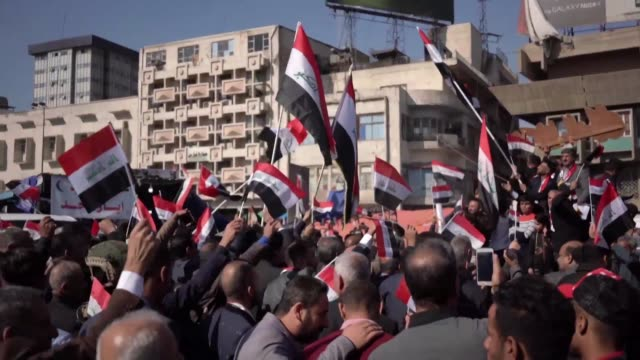 iraqi protesters rally in baghdad's tahrir square after new government promises sceptical that top political leaders would deliver the sweeping... - iraq stock videos & royalty-free footage