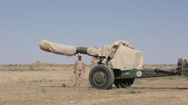 Iraqi soldiers prepare M198 howitzers near the IraqiSyrian border June 14 2018 Iraqi Security Forces and Coalition partners provided fire support...