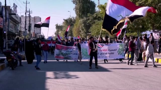 iraqi students protest in the holy shrine city of karbala refusing to return to class until their demands are met as iraqi political leaders face a... - karbala stock videos & royalty-free footage