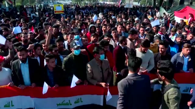 iraqi students rally in mass in the holy shrine city of karbala to protest against iran's kingmaking influence as the latest deadline for choosing a... - karbala stock videos & royalty-free footage