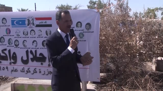 Iraqi Turkmen people commemorate their martyrs on the occasion of the 57th anniversary of the Kirkuk Massacre in Kirkuk Iraq on July 14 2016 Head of...