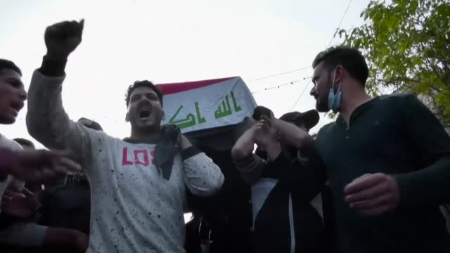 iraqis hold a funeral for a demonstrator killed during clashes with security forces in karbala as anti government protests turned even more violent... - karbala stock videos & royalty-free footage