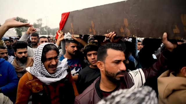 iraqis in the southern city of najaf mourn during funeral processions for some of the at least 16 demonstrators killed a day earlier during anti... - najaf video stock e b–roll