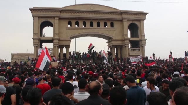 iraqis protest in basra against the government demanding an end to corruption and unemployment and an overhaul of the political system - basra stock videos & royalty-free footage