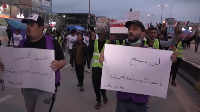 iraqis protest in basra to denounce the influences of iran and the united states in iraq after a furious iran threatened to avenge a us drone strike... - basra stock videos & royalty-free footage