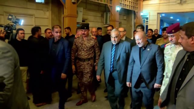 iraq's prime minister adel abdel mahdi and health minister alaa aldin alwan visit the wounded in a hospital in karbala after more than 30 pilgrims... - muharram stock videos & royalty-free footage