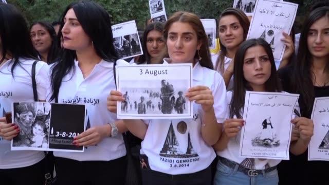 iraq's yazidi minority hold its summer festival five years after jihadists seized their ancestral hub of sinjar in a brutal assault that still haunts... - sinjar stock videos & royalty-free footage