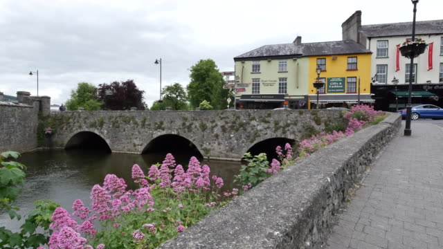ireland cahir town and stone bridge - republic of ireland stock videos & royalty-free footage
