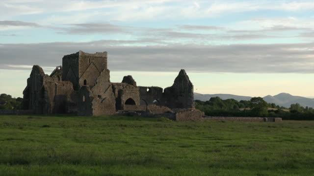 Ireland Cashel Hore Abbey ruin interesting sky pan and zoom