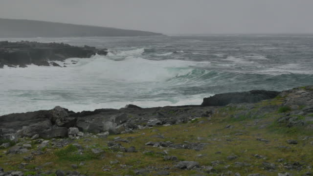 Ireland County Clare big waves on shore