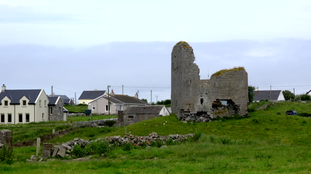 ireland county clare castle ruin near doolin - doolin stock videos & royalty-free footage