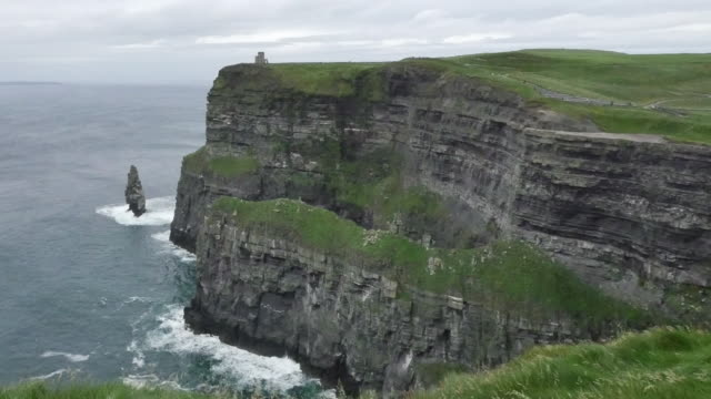 Ireland County Clare Cliffs of Moher with boat pan