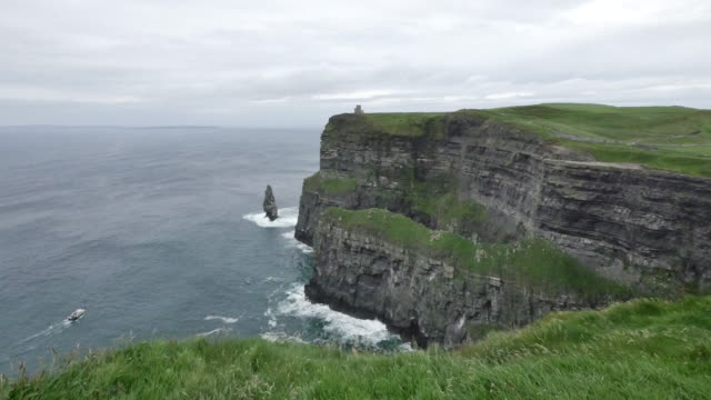 Ireland County Clare Cliffs of Moher with boat