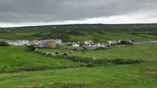 Ireland County Clare Doolin surrounded by green fields pan