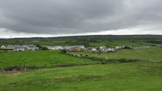 ireland county clare doolin surrounded by green fields - doolin stock videos & royalty-free footage