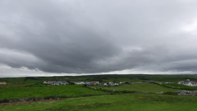 ireland county clare doolin under dark cloudy sky - doolin stock videos & royalty-free footage
