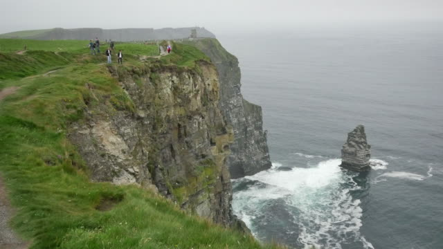 Ireland County Clare people along a path at Cliffs of Moher