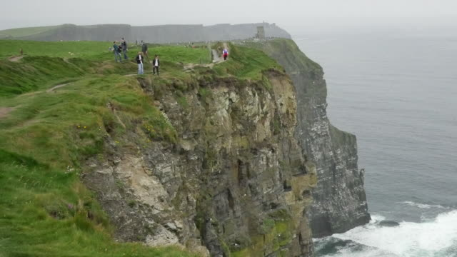 Ireland County Clare people along a path at Cliffs of Moher zoom out