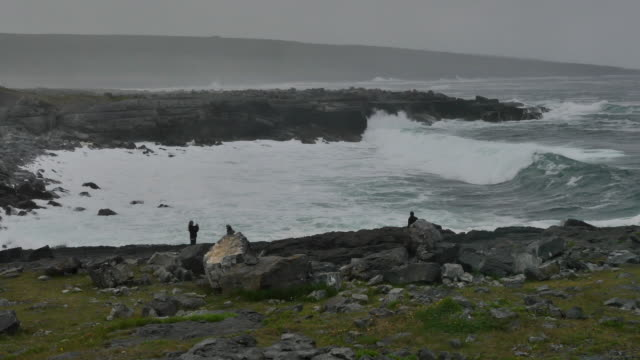 Ireland County Clare people and big waves