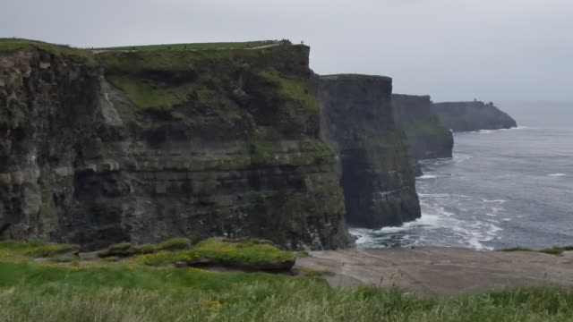 Ireland County Clare view all along Cliffs of Moher pan
