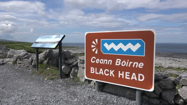 Ireland County Clare Wild Atlantic Way sign at Black Head