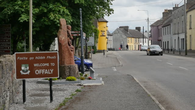 ireland county offaly sign and traffic in banagher - welcome stock videos and b-roll footage
