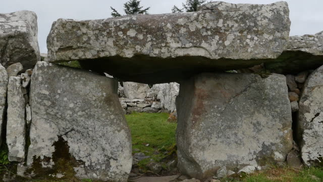 ireland creevykeel huge stones capped by a lintel - prehistoric era stock videos & royalty-free footage