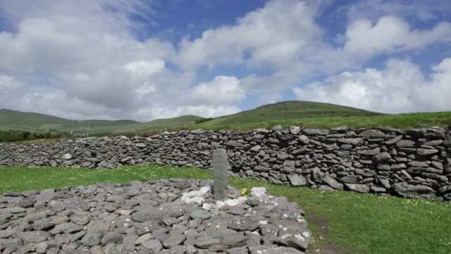 ireland dingle ogham stone and wall - stone wall stock videos and b-roll footage