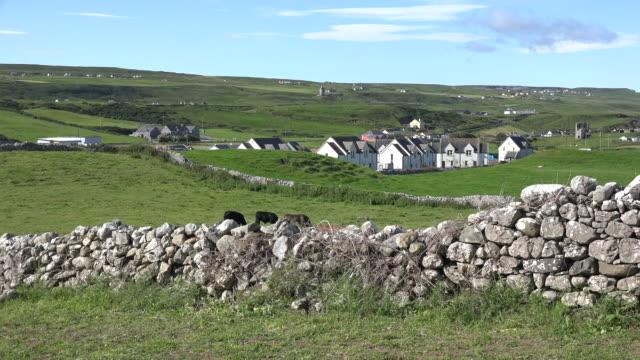 Ireland Doolin view with stone wall