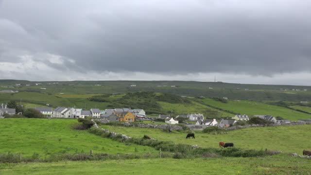 Ireland Doolin village under dark clouds
