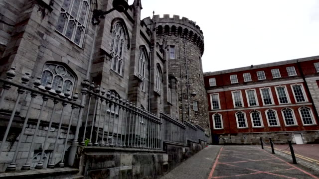 ireland dublin castle and courtyard - courtyard stock videos & royalty-free footage