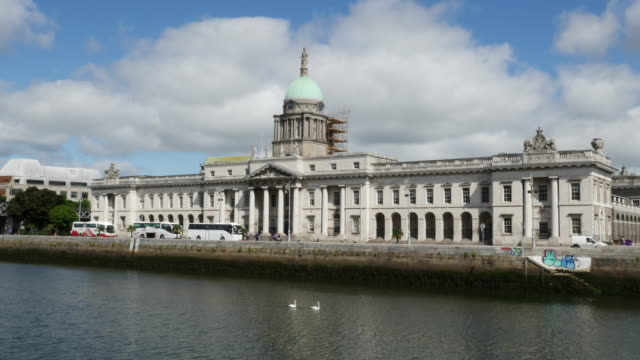 Ireland Dublin Customs House and River Liffey with pretty cloud