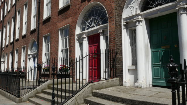 ireland dublin painted doors by st stephens green - facade stock videos & royalty-free footage