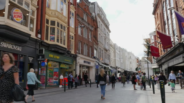 ireland dublin shopping street editorial - high street stock videos & royalty-free footage