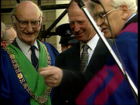 ireland football manager jack charlton granted freedom of dublin a nat dublin ext tgv large cheering crowd in city centre square ms jack charlton... - jack charlton stock videos & royalty-free footage
