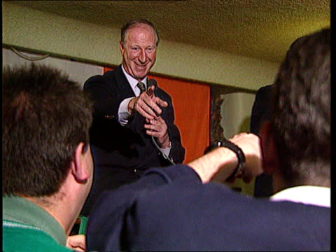 ireland football manager jack charlton granted freedom of dublin ireland dublin jack charlton along into crowded bar pan lr tms cheering fans in bar... - jack charlton stock videos & royalty-free footage