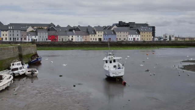 ireland galway bay boats at low tide with houses on the opposite bank pan - low tide stock videos & royalty-free footage
