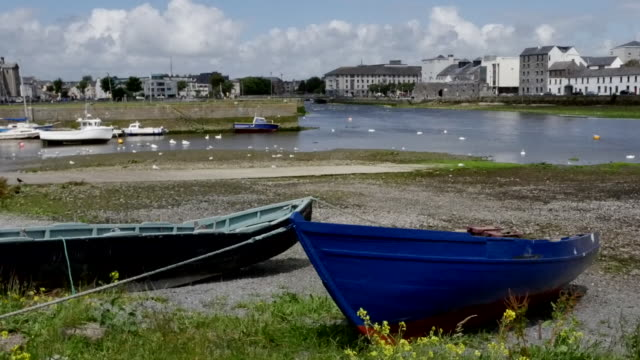 ireland galway city boats along bay shore pan - freshly painted stock videos & royalty-free footage