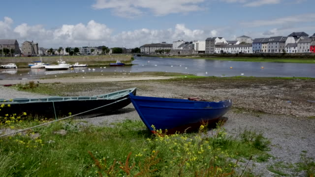 ireland galway city boats along the shore - freshly painted stock videos & royalty-free footage