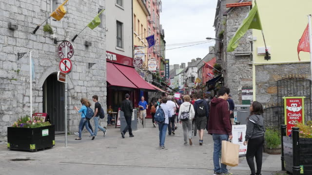 ireland galway city tourists in old section of city - republic of ireland stock videos & royalty-free footage