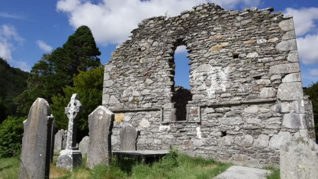 Ireland Glendalough Celtic monastery cathedral wall