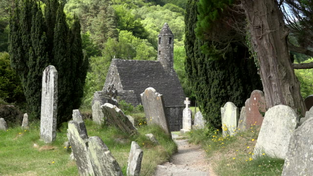 ireland glendalough with cemetery and st kevins church - establishing shot stock videos & royalty-free footage