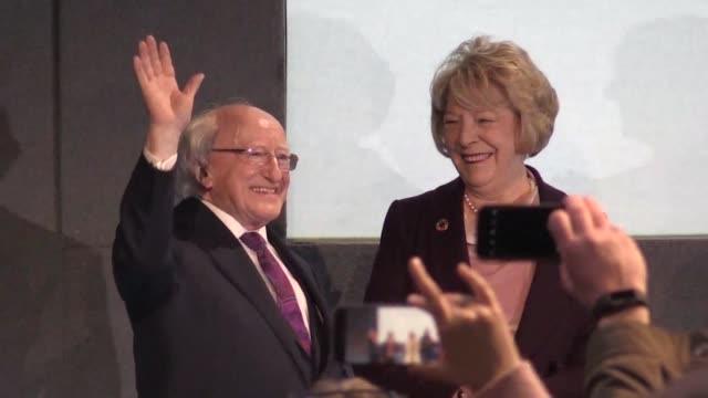 ireland re elects michael d higgins for a second term as president and votes to lift a rarely enforced constitutional ban on blasphemy in the latest... - michael d. higgins stock videos and b-roll footage