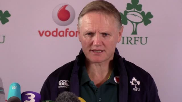 ireland rugby union coach joe schmidt and player iain henderson talk to the media at carton house in kildare. - maynooth stock videos & royalty-free footage