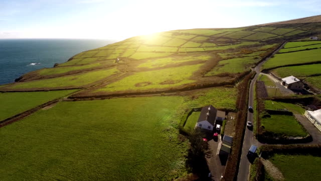 Ireland sunset at the ring of Kerry Aerial shot