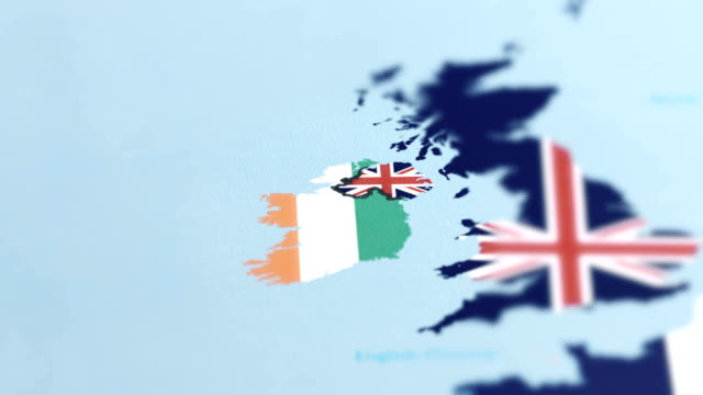 ireland with national flag on world map - northern ireland stock videos & royalty-free footage