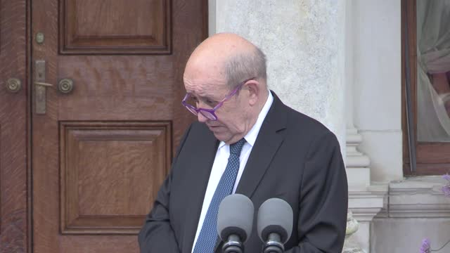 ireland's foreign affairs minister simon coveney held talks with french foreign minister jean-yves le drian at farmleigh estate in dublin. mr coveney... - port said stock videos & royalty-free footage