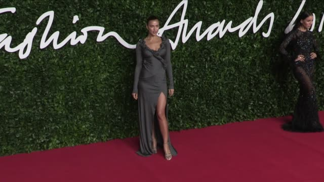 irina shayk and daisy lowe on the red carpet for the british fashion awards 2019 held at the royal albert hall in london london, uk, on monday... - fashion designer stock videos & royalty-free footage